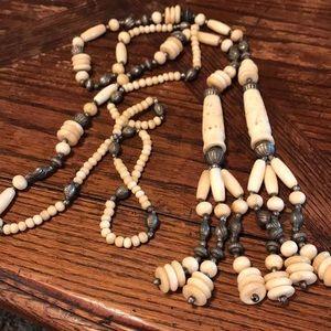 """73"""" pre-ban carved ivory & bone belt or necklace"""